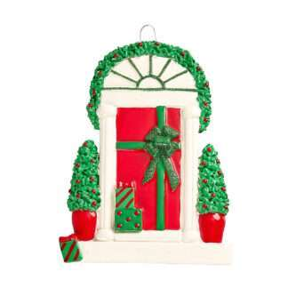 Package Wrapped Front Door Ornament Personalized