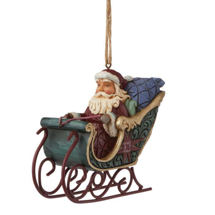 Jim Shore Worldwide Event Figurine Santa in Sleigh Ornament