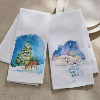 Quiet Winter and Peace on Earth Tea Towels