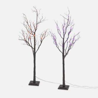 Black Glittered Halloween Stick Trees with Purple or Orange Lights