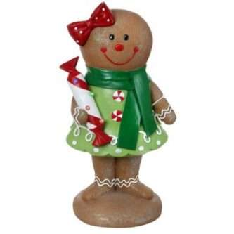 """Yard Art Gingerbread Girl with lit bow 36"""""""