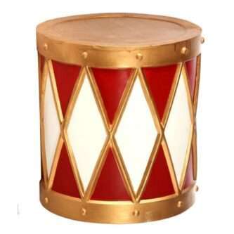 Outdoor Red, White and Gold Drum Planter or Stand