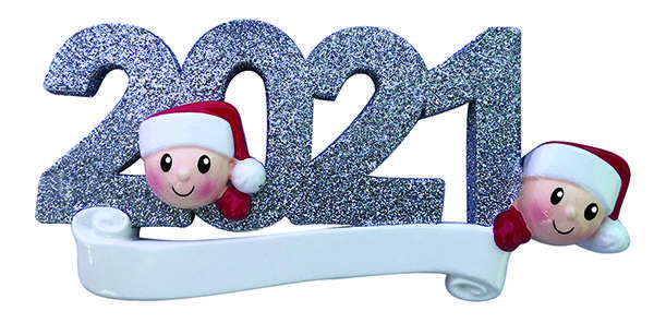 Elf Family around 2021 personalized ornament