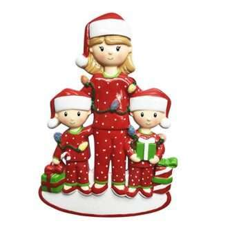 Mom with 2 Children Personalized Christmas Ornament