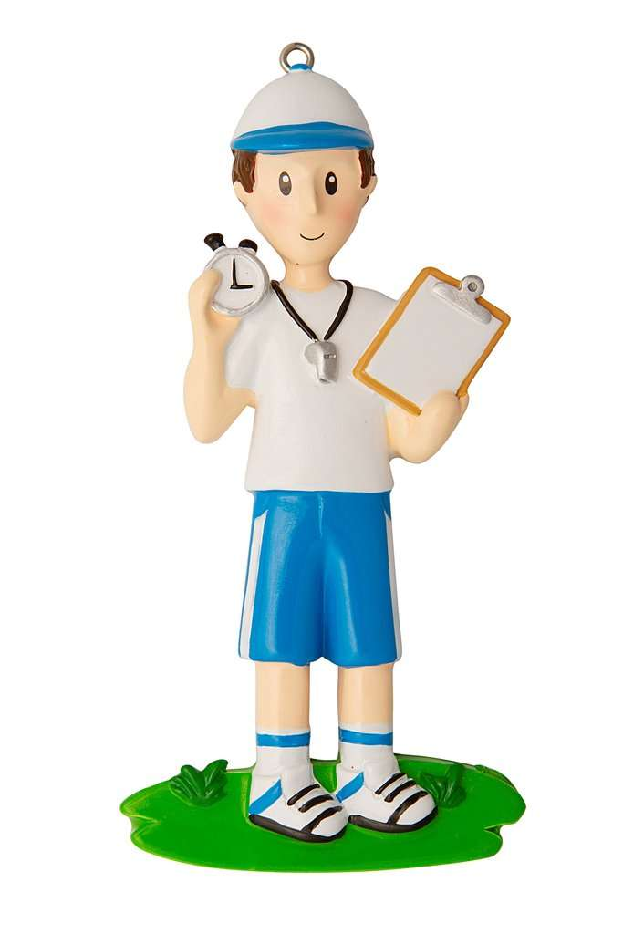 Coach with Whistle and Clipboard Personalized Christmas Ornament