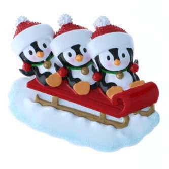 Family of Penguins on a sled personalized more sizes