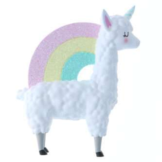 Llamacorn with pastel rainbow ornament personalized