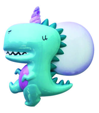 Dinocorn Ornament with speech bubble for personalization