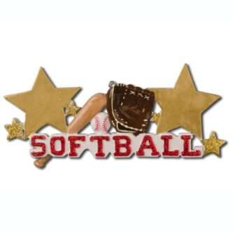 For the softball lover on your list. This ornament features the word softball in red glitter with a bat, ball and glove. The starscan be personalized