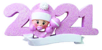 Pink 2021 Baby Ornament