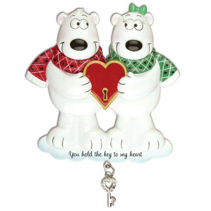 Couples Key To My Heart Polar Bear Personalized Christmas Ornaments