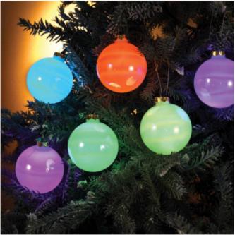 6-Light Glass Ball Ornament Color-Changing LED Light Set