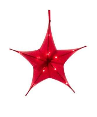 Battery-Operated Gold - Red - Silver Metallic Foldable 3-D Star Ornament Three sizes