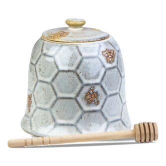 beehive honey pot and dipper set