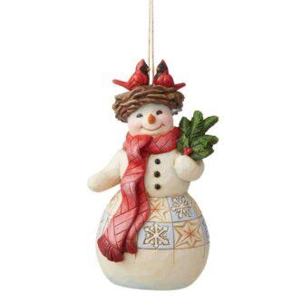 Snowman with Cardinal Nest Ornament Jim Shore Heartwood Creek