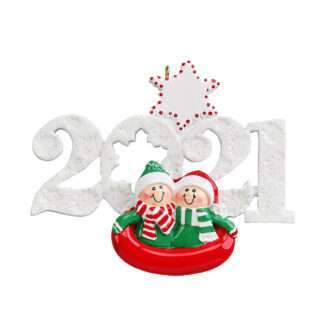 2021 Couple sledding ornament personalize