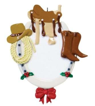 Horseshoe ornament with western wear personalize