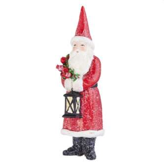 Frosted Santa with Lantern Ornament
