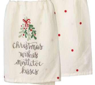 Dish Towel - Christmas Wishes Mistletoe Kisses