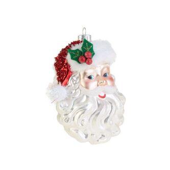 Beaded Hat Santa Face Ornament