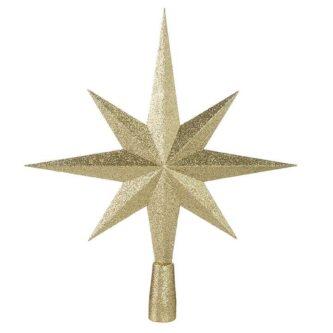 "23.5"" gold glitter plastic star tree topper"