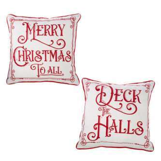 Merry Christmas or Deck the halls Holiday Pillows