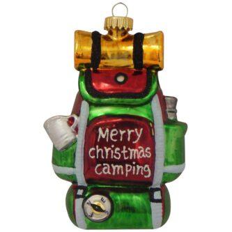 Merry Christmas Backpack Glass Figurine Ornament