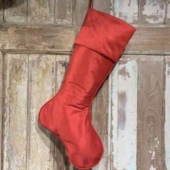 Red or Burgundy Dupioni Stocking