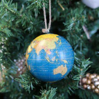 Globe Ornament in Dark Blue