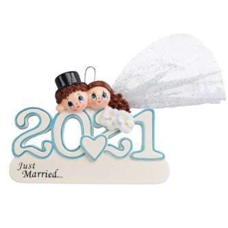 2021 Bride and Groom ornament personalize