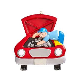 Mechanic personalized ornament red car