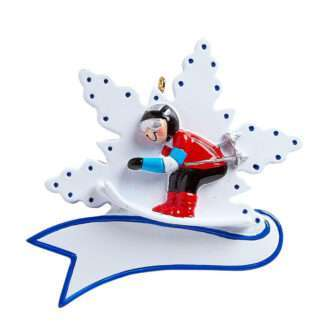 Snow Ski ornament Skier on Snowflake with banner personalize