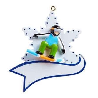 Snow Boarder on a Snowflake ornament personalize