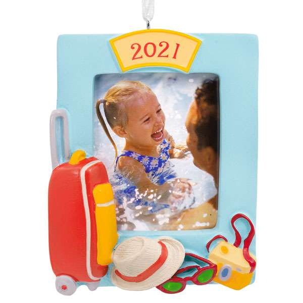 Family Vacation Photo Holder Dated Ornament