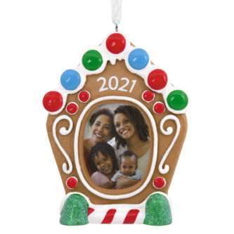 Gingerbread House Photo Holder Dated Ornament