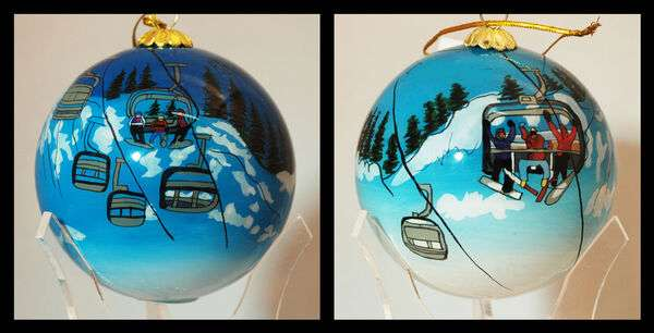 Family Chairlift glass hand painted on the inside ornament