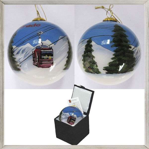 Gondola and mountains painted on the inside Colorado Ornament