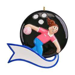 Bowling Personalized ornament Boy or Girl on bowling ball