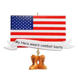 """American Flag with dangle combat boots reads """"My hero weals combat boots"""" Personalize"""