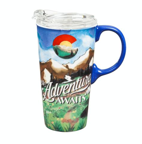 Colorado Adventures await ceramic mug