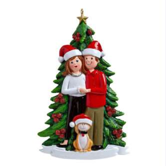 Christmas Couple with Dog of Cat Ornament Personalize