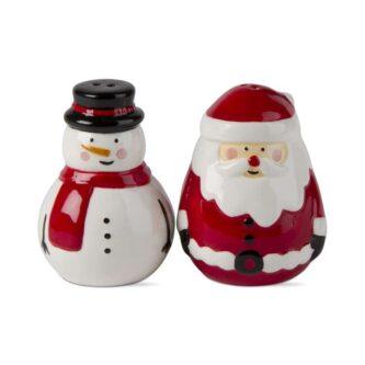 jolly santa & snowman salt & pepper set of 2