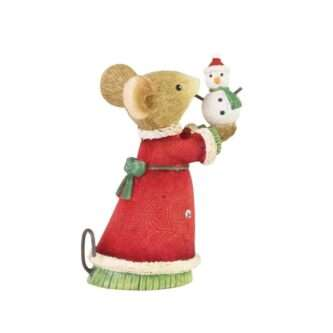 Tiny Snowman figurine Tails with Heart