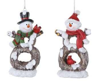 Resin Snowman Cardinal ornament red or green scarf