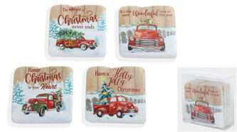 Resin Red truck Christmas Coaster set of four
