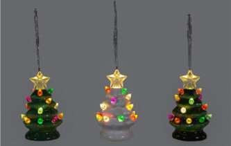 Mini Ceramic Vintage Look Christmas Tree Ornaments Three Colors